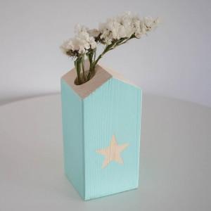 Casita de madera Portavela Estrella Mint