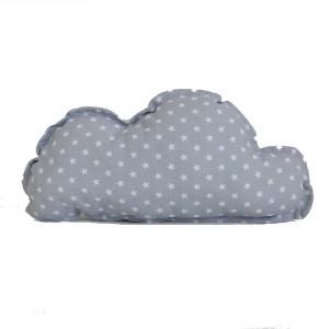 Funda cojín nube estrellitas gris