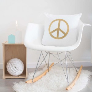 Gold Peace Symbol cushion