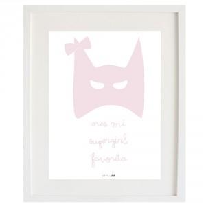 Lámina Eres mi Supergirl favorita rosa bebe