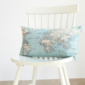 World map cushion 30x50