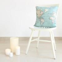 World map cushion cover 45x45