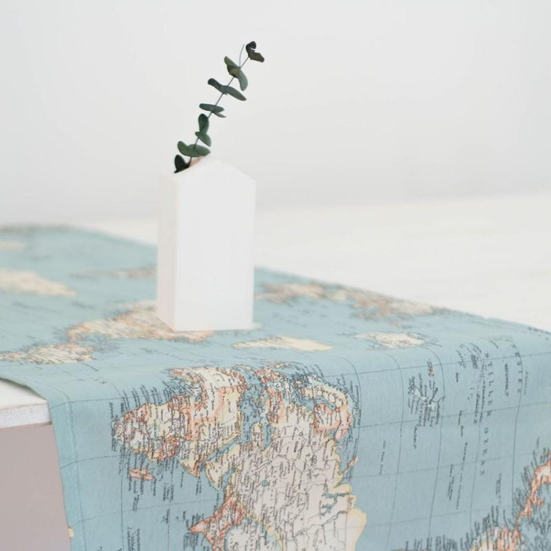 Camino de mesa mapamundi boho deco shop for Mesa cristal mapamundi
