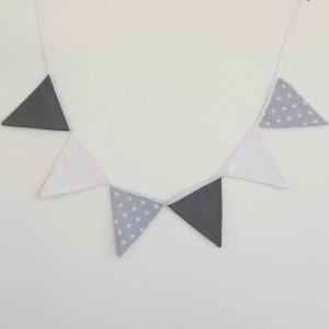 Guirnalda de banderines estrellitas gris