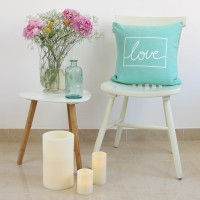 Mint Love design cushion