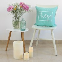 Mint You and Me design cushion
