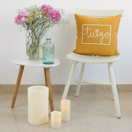 Mustard You and Me design cushion