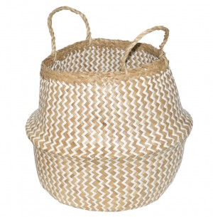 White and natural two-color basket