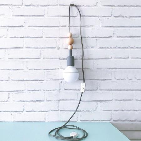 Cable de luz  nórdico con interruptor blanco y  gris