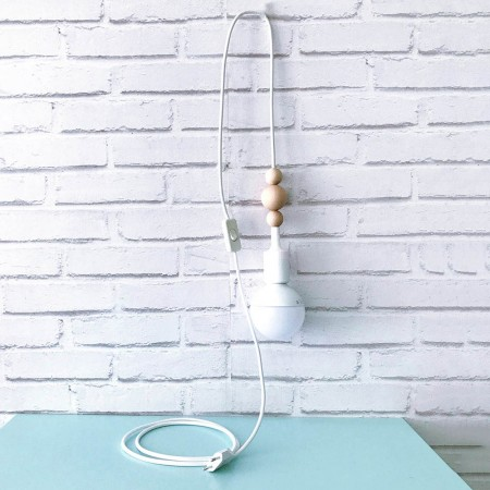 White and grey nordic light cable with switch