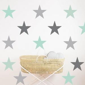 Grey mint Stars vinyl 22x22