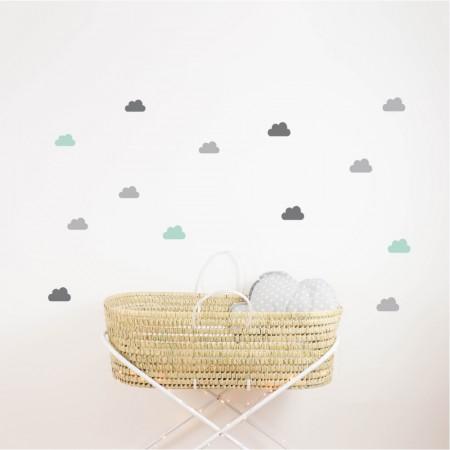 Grey and mint cloud vinyl