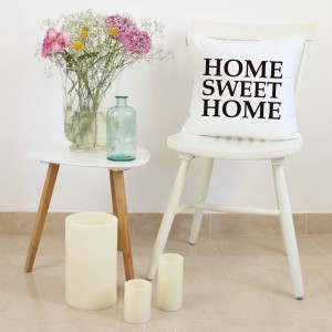 Funda cojín Home Sweet Home Blanco