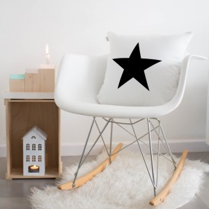 White and black star cushion