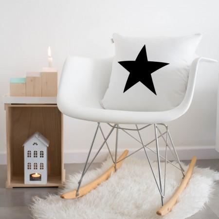 Funda cojín Estrella Blanco y negro
