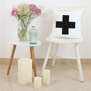 White and black Cross cushion