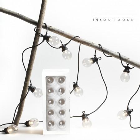 Transparent light bulbs garland