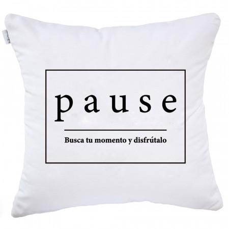 Funda de cojín Pause blanco