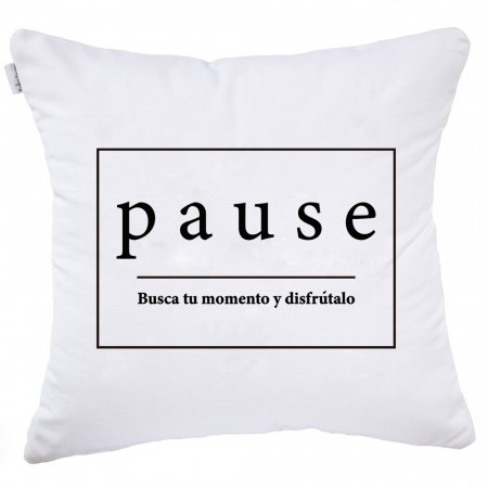 White and black Pause cushion