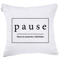 Pause black and white cushion cover