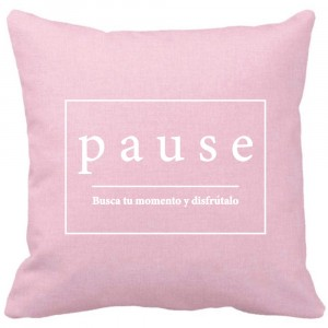Funda de cojín Pause rosa cuarzo