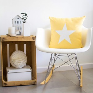 Yellow star cushion