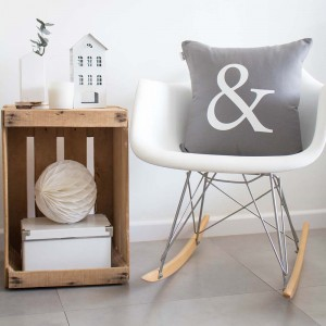 Grey ampersand cushion