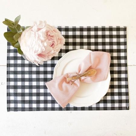Mantel individual lino rosa
