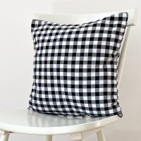 Black gingham cushion 45x45