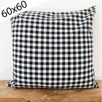 Black gingham cushion 60x60