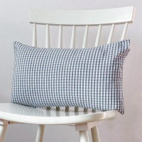 Grey gingham cushion 30x50