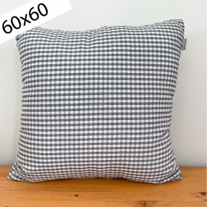Gray gingham cushion 60x60
