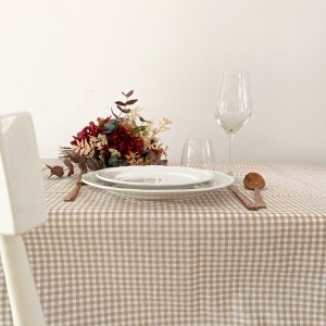 Beige gingham stain-proof tablecloth