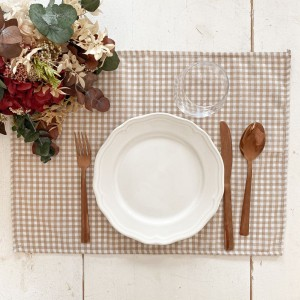 Individual anti-stain gingham beige