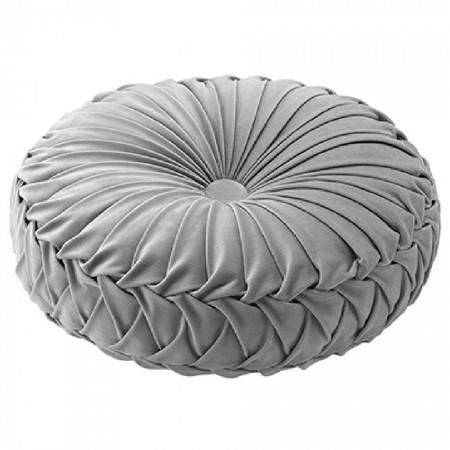 Cojín redondo de terciopelo con relleno gris