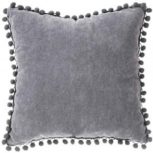 Cojín lleno 40x40 pompones gris