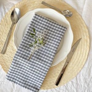 Pack of 2 grey gingham napkins
