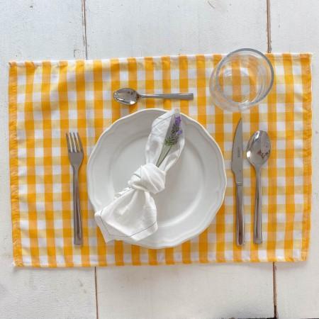 Pack of 2 beige gingham napkins