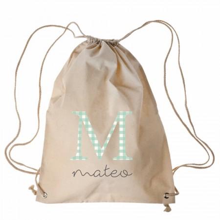 Mochila personalizada vichy mint