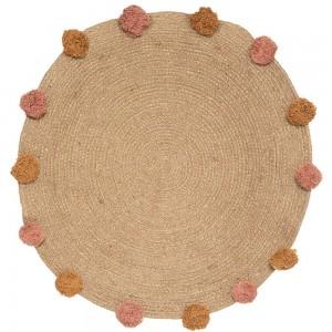 Alfombra redonda de Yute con pompones