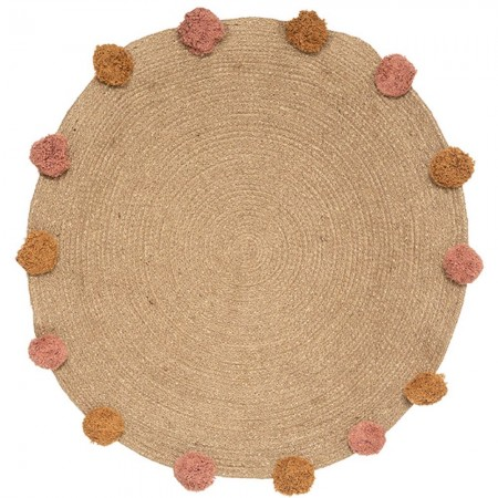 Round jute rug with pompoms