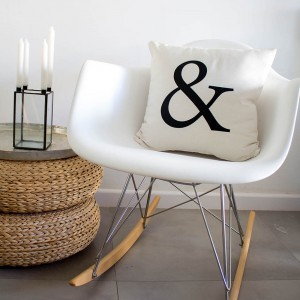 White Ampersand cushion