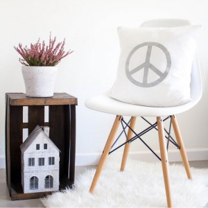 Grey Peace Symbol cushion