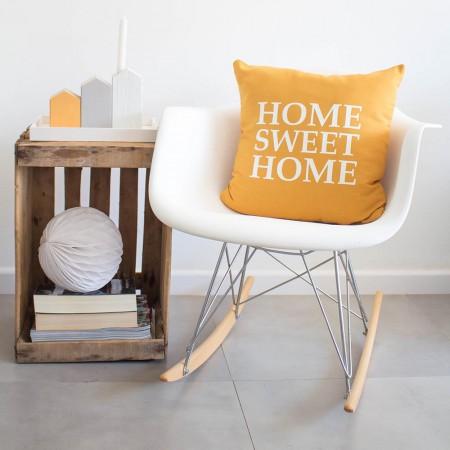 Funda cojín Home Sweet Home Mostaza