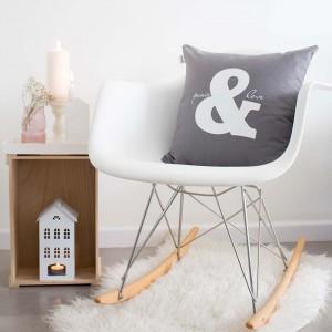 Grey Peace & Love cushion