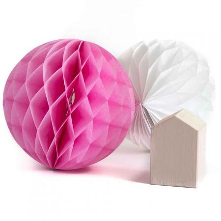 pink honeycomb pompom boho deco shop. Black Bedroom Furniture Sets. Home Design Ideas