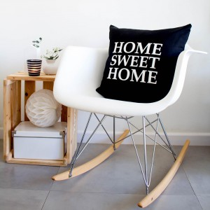 Funda cojín Home Sweet Home Negra