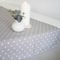 Table runner with white dots in Grey
