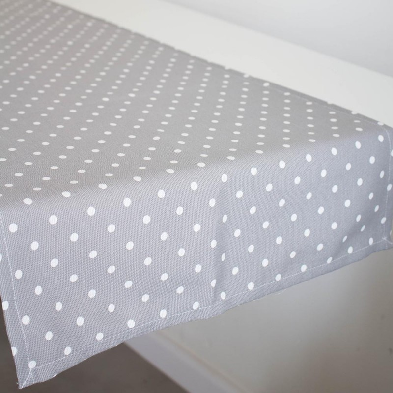 ... Table Runner With White Dots In Grey ...